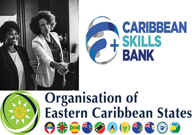 people, logos of Caribbean Skills Bank and OECS